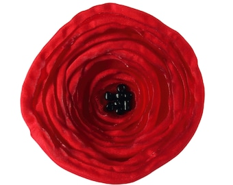 Large Red Poppy Fabric Flower Brooch