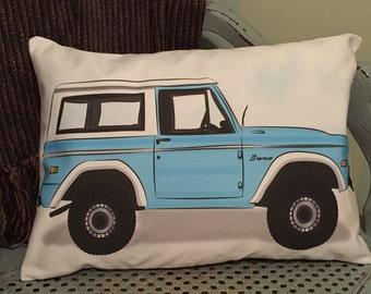 Custom pillow cover - 1972 POWDER BLUE Ford BRONCO