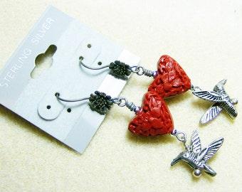 Red Heart Earrings - Red Textured Hearts, Wonderful Little Hummingbirds & Antiqued Silver Flower Earwires by JewelryArtistry - E601