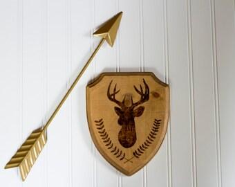 Deer Head Mount Silhouette Wood Decor Sign