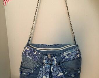 Handmade Shoulder bag for women, denim, jeans shoulder bag