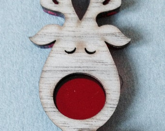 Rudolph the Red Nosed Reindeer brooch pin,Reindeer Jewellery , Reindeer pin, Festive brooches ,Festive jewellery , Reindeer brooches