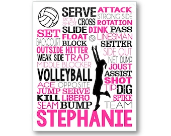 Volleyball Typography Poster Print, Volleyball Art Print, Volleyball Canvas, Volleyball Gift, Volleyball Team Gift, Volleyball Coach Gift