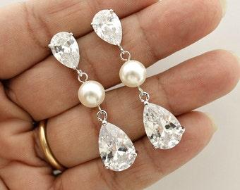 Bridal Earrings Pearl Crystal Wedding Jewelry Cubic Zirconia Bridal Jewelry Teardrop Wedding Pearl Earrings, Clara