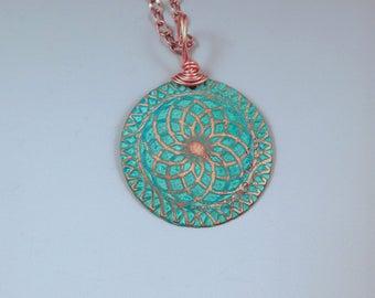 Copper Disc Necklace- Circle of Life- Verdigris Aqua Patina