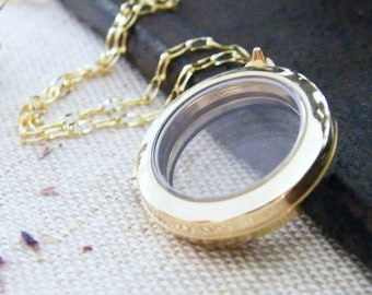 14kt gold floating glass locket a exclusive to pure rox jewels design