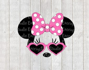 SVG DXF File for Minnie with Heart Sunglasses and Dot Bow