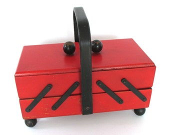 Vintage Sewing Box Red Black Folding Wood Accordion Sewing Kit with Handle Birthday Gift Wife Foldout Sewing Germany 1950s 1960s Midcentury