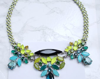 Statement Necklace, Crystal Statement Necklace, Edgy Necklace, crystal necklace, Rainbow Necklace, Colorful Necklace