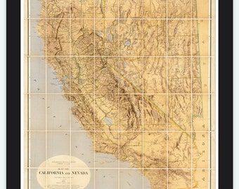 Vintage Map of California and Nevada 1874