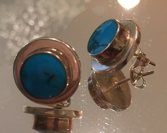 Mexico Sterling Silver & Turquoise Earrings