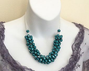 Teal Pearl Necklace Teal Pearl Cluster Necklace Bridesmaids Gift Bridesmaid Jewelry Teal Necklace Teal Wedding Bridesmaids Necklace