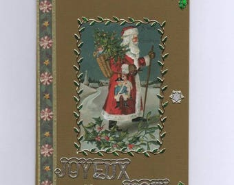 "268 - Vintage Santa Claus ""Merry Christmas"" greeting card"