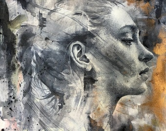 Original oil and acrylics painting . Art study  . Original British art