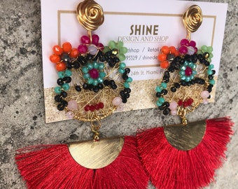 Frida Kahlo art earring with tassels
