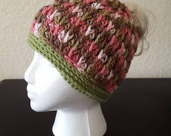 Messy Bun Hat Fancy stitch