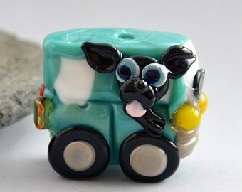 BLACK Dog in Camper Van  Glass Sculpture Collectible, Focal Bead, Pendant, Izzybeads SRA