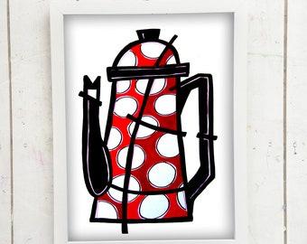Modern Kitchen Art, Modern Kitchen print, Kitchen Wall Art, Kitchen Decor, Modern Kitchen Art, Red Kitchen Wall Art, Gift for her, Pop art