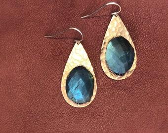 Oil Droplet Earrings in labradorite
