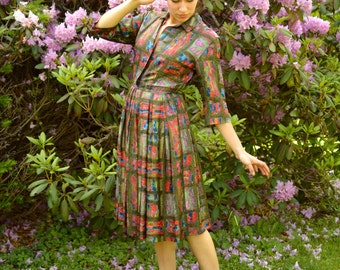 50s Shirt Dress McMullen Marshal Field Co 24 Inch Waist