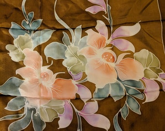 Vintage Silk Scarf - Small Floral Square Scarf