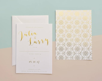 Hexagon Gold Foil Wedding Invitation