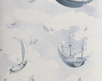 FISHING FOR STARS Sky Blue Wallpaper 10 Meter Roll