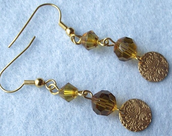 Gold Disc earrings in topaz and yellow