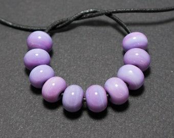 Lampwork Spacer beads, Purple lampwork spacer beads, Lampwork beads set, Purple glass spacer, Lampwork glass spacer