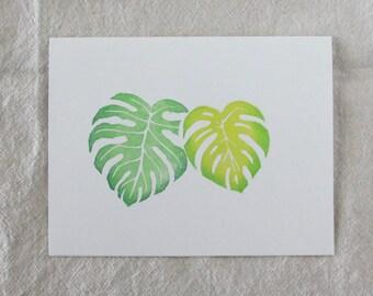 Set of 4 Split-leaf Philodendron Linocut cards