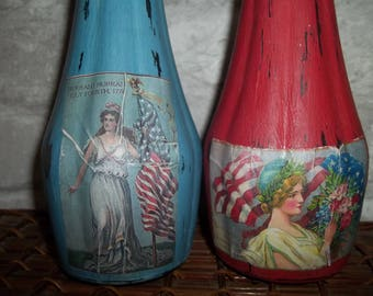 Americana Painted Vase, 4th of July Decor, Independence Day, Memorial Day, Decoupage Vase, Chalk Painted.  Vase