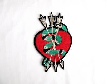 ARROW Patch With Heart,Iron On Patch,Snake Heart Patch,Green Snake With Orrow,Embroidery Heart Patch,
