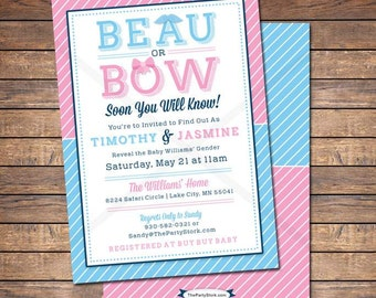 Gender Reveal Invitations: Printable Beau or Bow Theme Baby Shower Invite with mustache, Blue, Pink, more Invites and games available