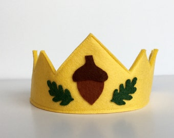 Wool Felt Crown-  100% merino wool Forest Child crown with acorn and oak leaves