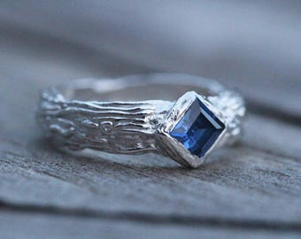 Fine Silver & Sapphire Organic Ring PMC Ring Syringe Ring Textured 999