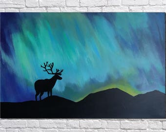 Night landscape painting Northern Lights Landscape Original painting Wall art Wall decor Deer  Gift for Mom