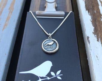 Silver Mini Raven Wax Seal Necklace