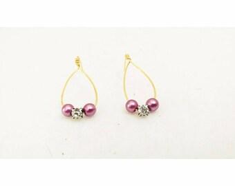 Purple Pearled Loop Earrings