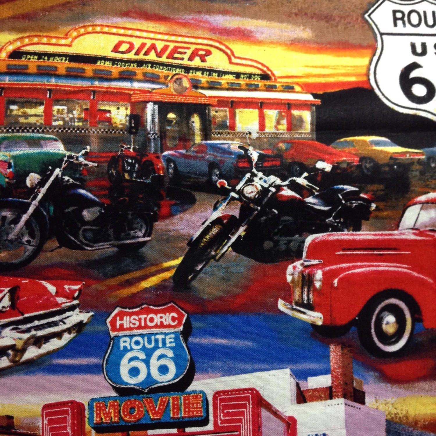 One Half Yard of Fabric Material - Route 66 Hot Rods, Diners ...