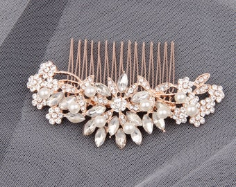 Bridal Hair Accessories Rose Gold Bridal Hair Comb Wedding Hair Comb Pearl Hair Piece Rose Gold Bridal Headpiece Rhinestone Crystal Clip