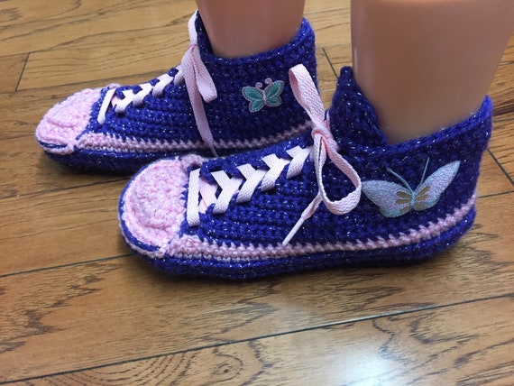 tennis pink slippers sneakers shoes 10 butterfly tennis Womens List butterfly slippers sneaker slippers shoes Crocheted 8 crochet 379 purple qYHXwn7