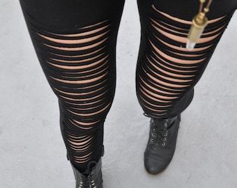 Black Cotton Slashed Leggings - Womens Leggings - Cotton Ripped Leggings