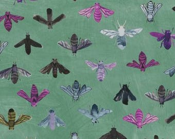 Save the Bees Turquoise Cotton Woven, Dreamer by Carrie Bloomston for Windham Fabrics