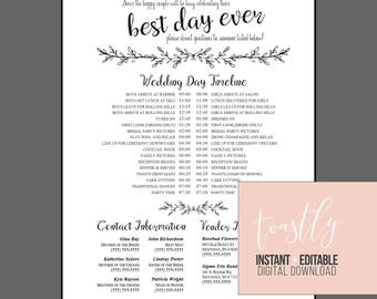Editable wedding timeline call anyone but the bride and editable wedding timeline edit in word phone numbers and timeline day of wedding junglespirit Choice Image