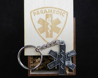 EMT Pewter Keychain EMS Paramedic in Engraved Box with Paramedic Symbol ** Free Shipping** Star of Life First Responder