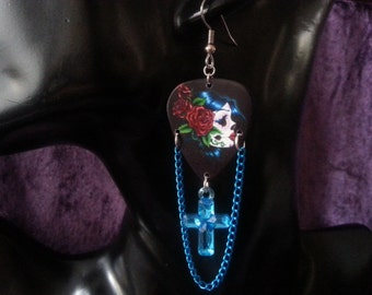 Day of the dead guitar pick earrings with blue cross charm and blue chain