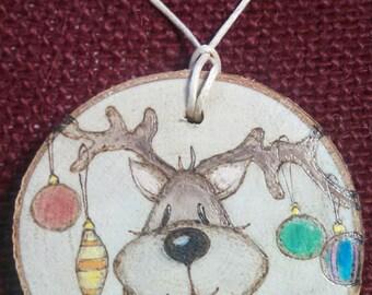 Reindeer Wood Burned Ornament