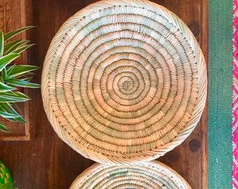 Marokkanische gewebte Berber Brot Teller/Schale/verschiedene Größen/Jahrgang/böhmische/ethnische/Wand Dekor/Speicher/Küche/erdig/Stroh/Boho/Korb/handgefertigt
