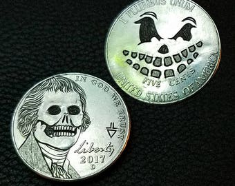 2017 D Double sided Jefferson Skull with teethy grin on back - Hand carved hobo nickel