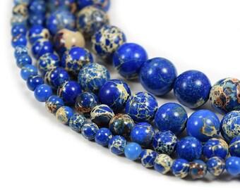 "Blue  Sea Sediment Jasper Beads 4m 6mm 8mm 10mm 12mm Regalite Round Imperial Impression Stone, 15.5"" Full Strand"